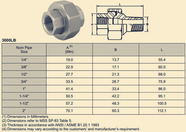 Npt Union Ss 304 Threaded Fittings Manufacturer Amp Supplier