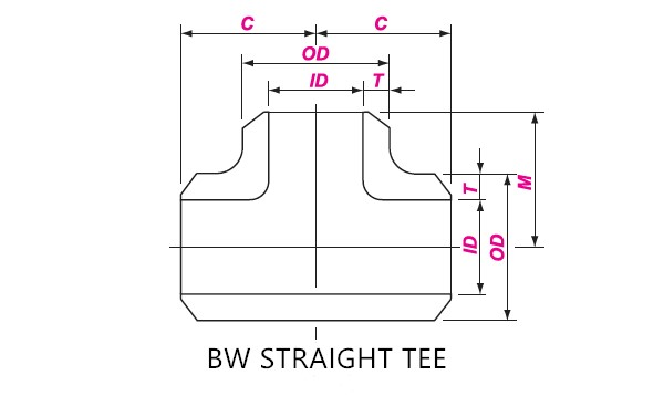 BUTT WELD EQUAL TEE DRAWING