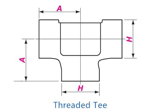 Threaded Tee Drawing